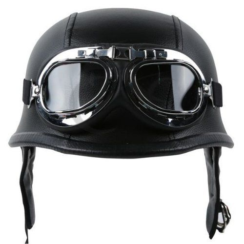 Motorcycle German Style Black Leather Half Helmet with Pilot Goggles for Chopper