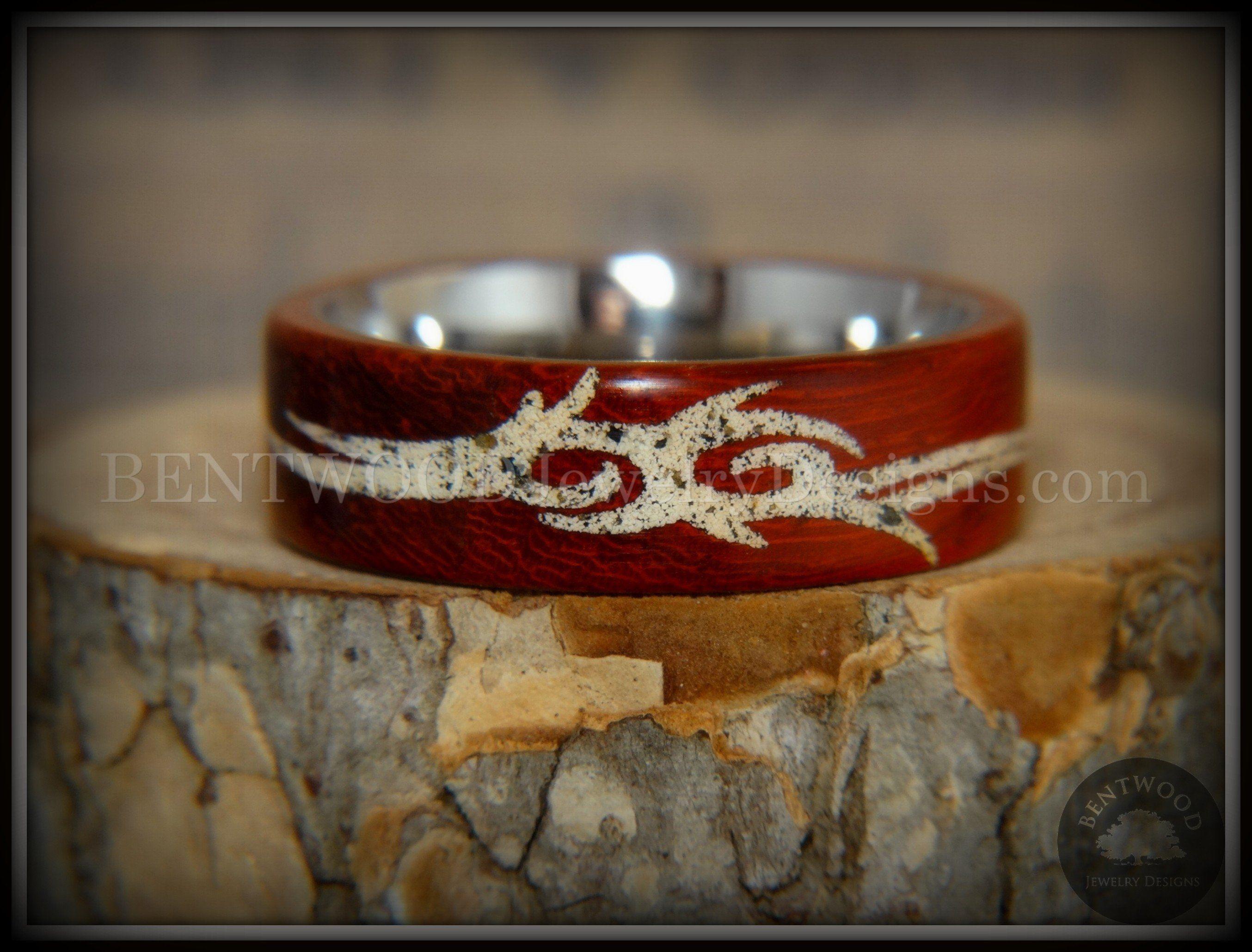 "Bentwood Ring ""Tribal"" African Padauk on Titanium Core"