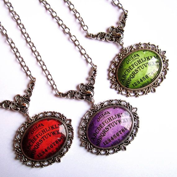 Ouija Necklace, Gothic Occult Jewellery, Glass Ouija Necklace, Ouija Jewellery, Ouija Board Necklace, Different Colors