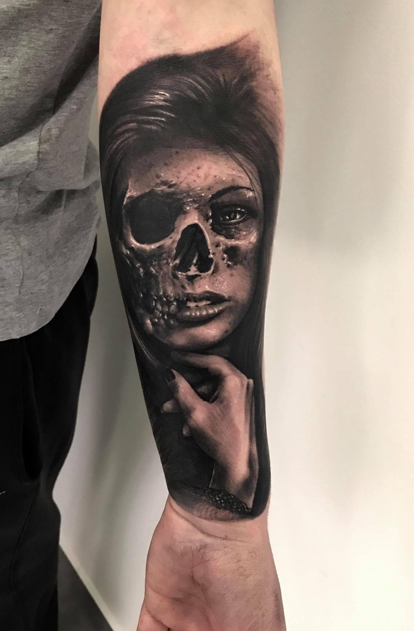 6bf15b3de Woman and Skull tattoo by Maciek! Limited availability at Revival Tattoo  Studio!