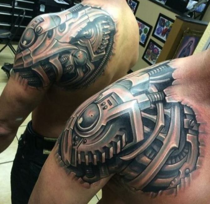 45 Awesome Biomechanical Tattoos Inkdoneright Biomechanical Tattoo Biomechanical Tattoo Design Mechanic Tattoo