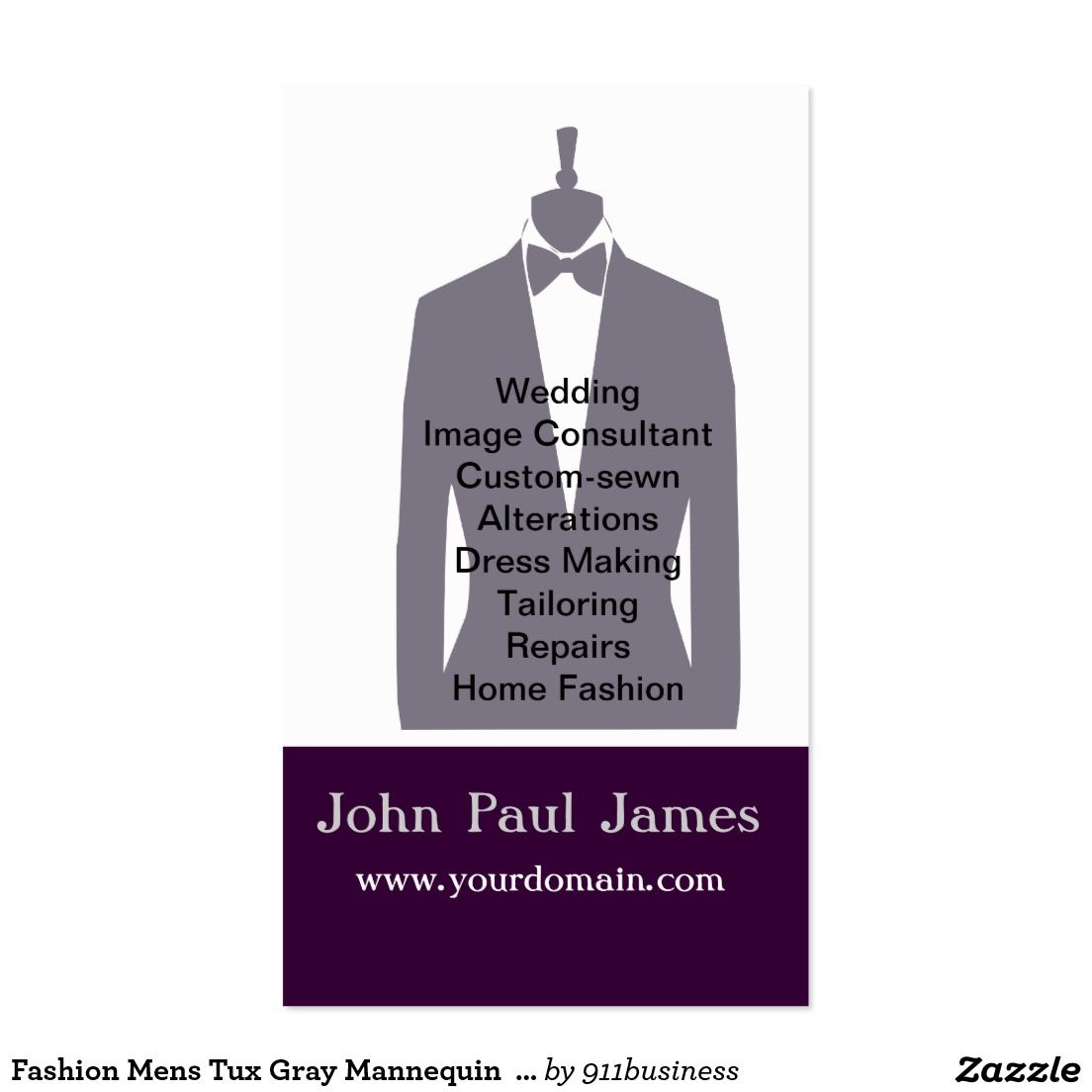 Fashion Mens Tux Gray Mannequin Stylist Business Card Zazzle Com Stylist Business Cards Mens Tux Mens Designer Fashion