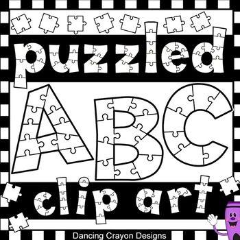 Alphabet Clip Art Puzzle Effect Black And White Clip Art Puzzle Art Lettering Alphabet