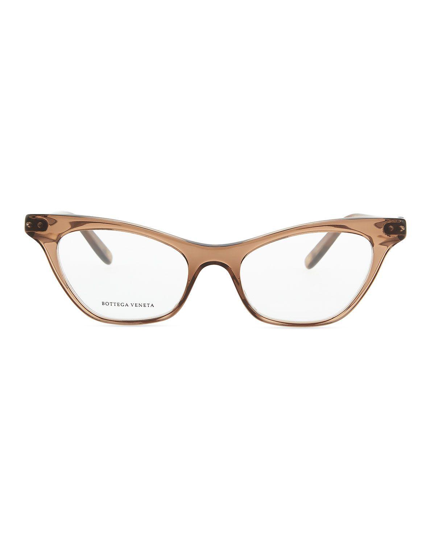 Cat-Eye Acetate Fashion Glasses, Brown