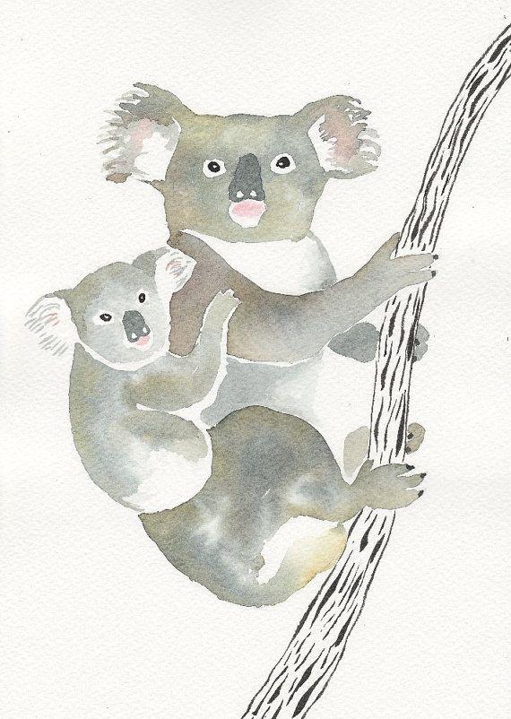 Maman Et Bebe Koala Original Aquarelle Et Encre Par Mydrops Sur
