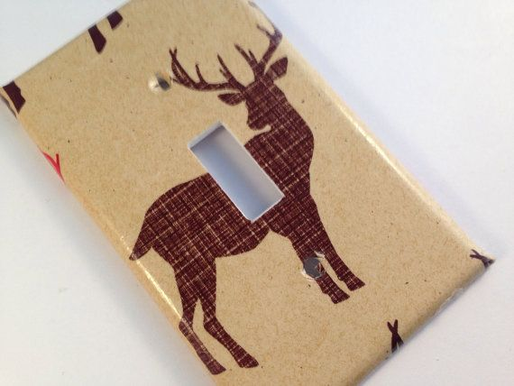 Brown deer light switch cover. Deer decor, deer nursery decor , deer bathroom decor , antler nursery decor, antler decor, antler diy #deerdecor #antlerdecor