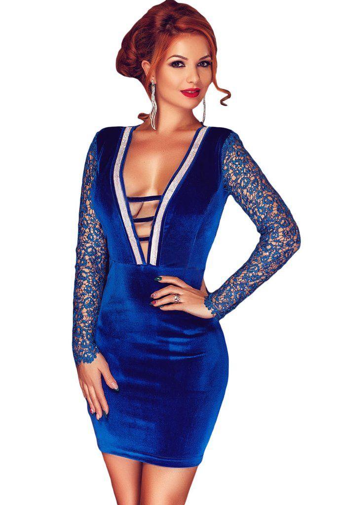 Robe de soiree bleu strass