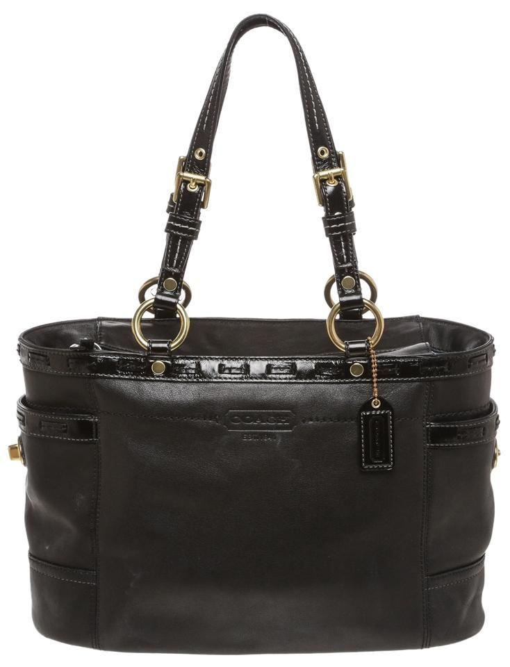 ... reduced cheap coach leather patent trim top zip handbag black tote bag  coach handbags208 57619 13876 ce856c88177d3