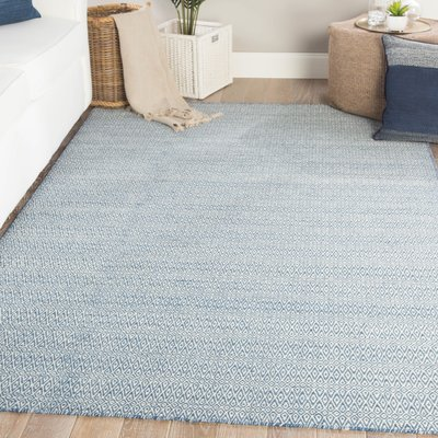 George Oliver Gargano Geometric Handmade Flatweave Wool Blue Ivory Area Rug Area Rugs Blue Area Rugs Rugs