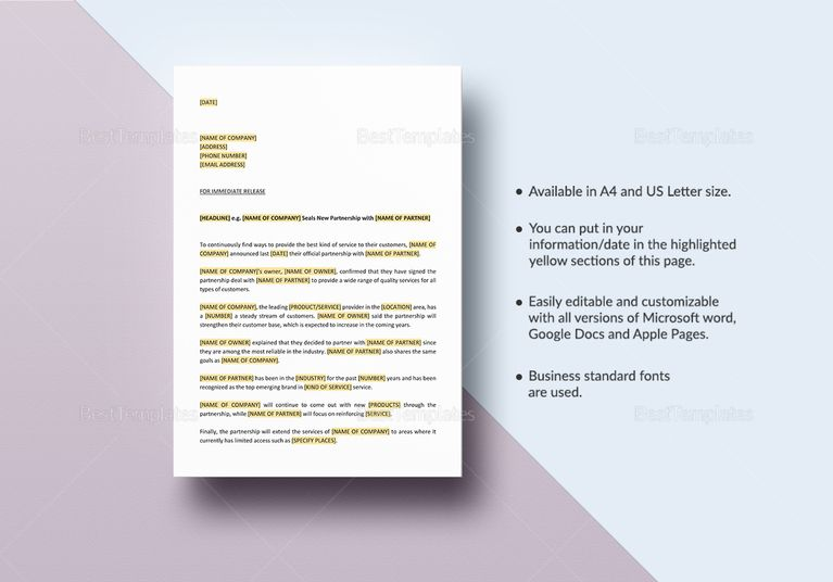 Press Release New Partnership-Collaboration Template Marketing - press release template