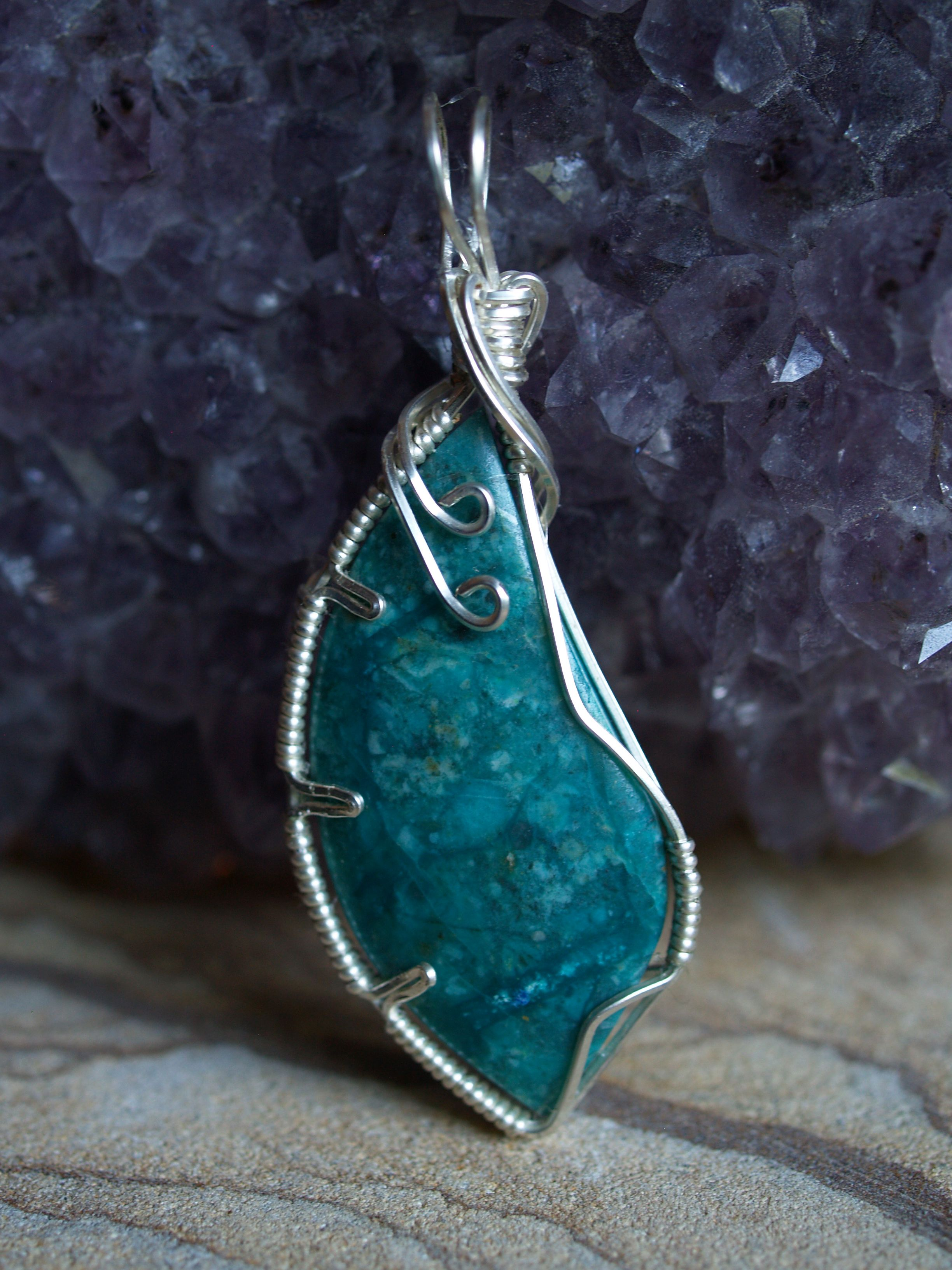 Hand cut Chrysocolla wrapped in sterling silver created by Ian ...