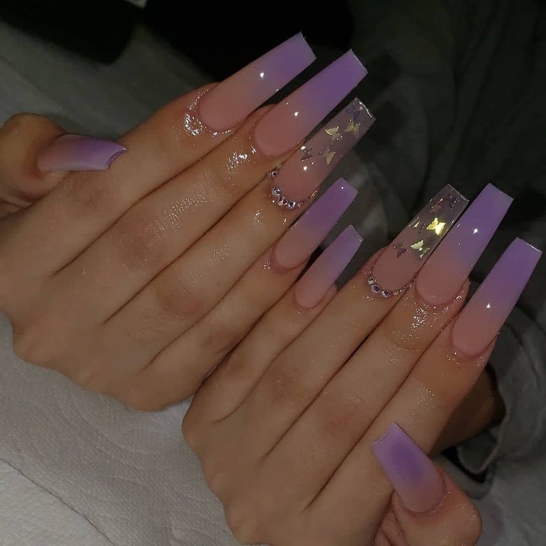 Nailartists Worldwide On Instagram Glitter Nails 1 4 Tag Someome Who Whould Like It Ombre Acrylic Nails Purple Acrylic Nails Long Square Acrylic Nails