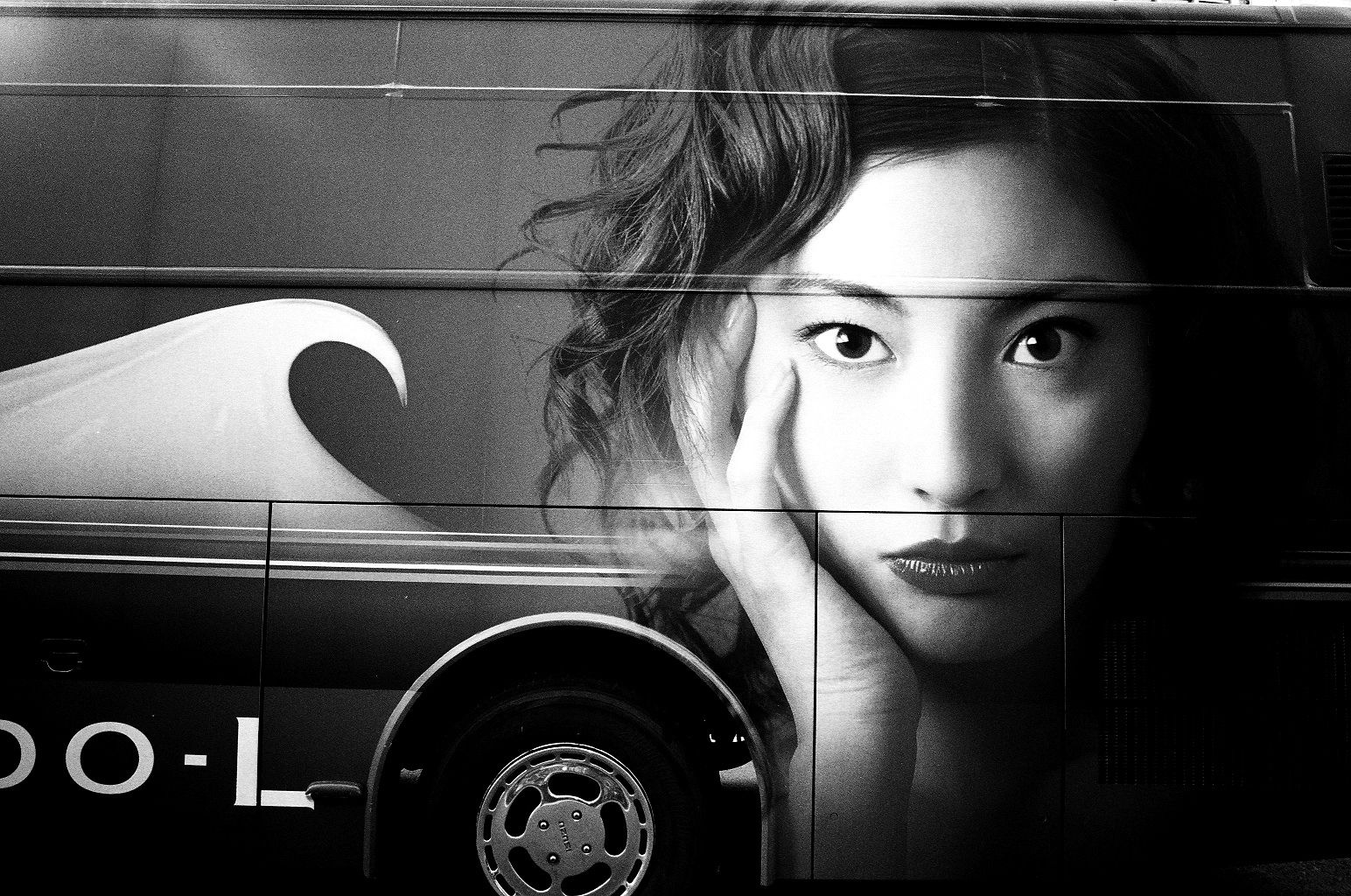 Japanese actress Takako Tokiwa painted on the bus