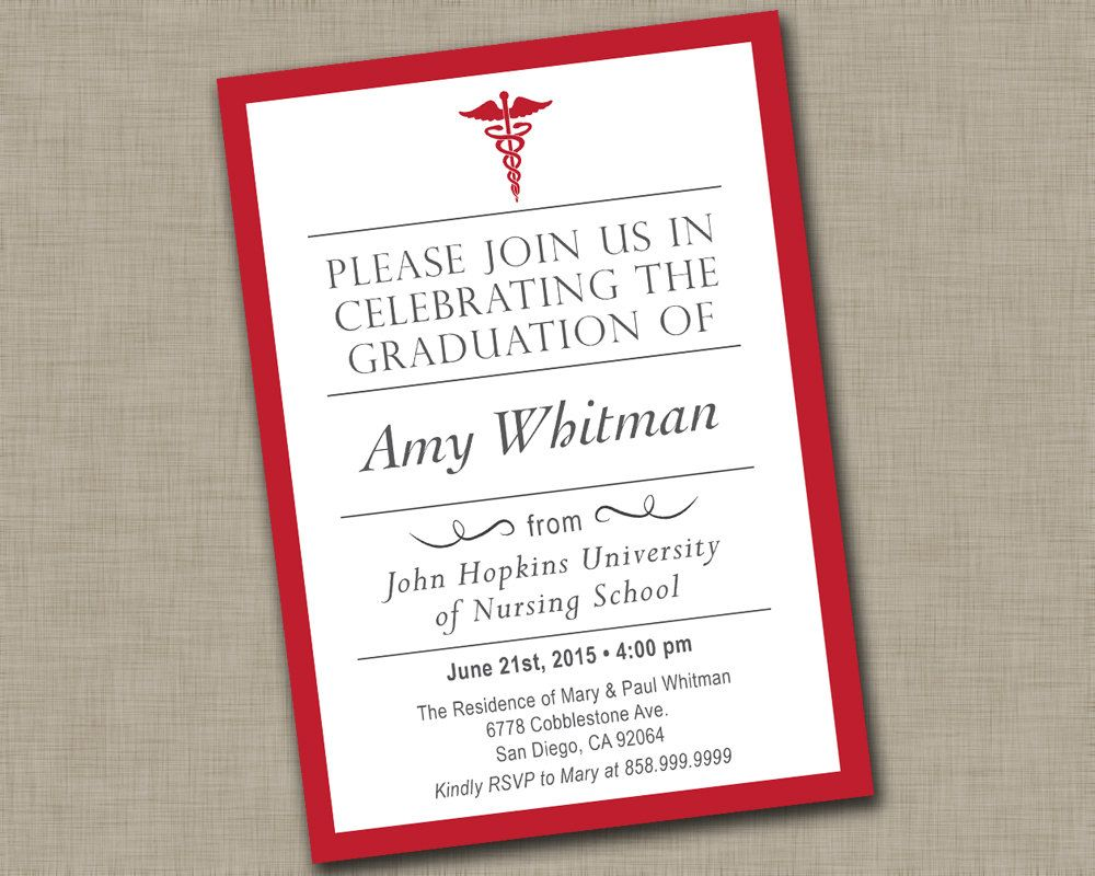 Nursing School Graduation Invitation Medical Graduation – Nursing School Graduation Invitations