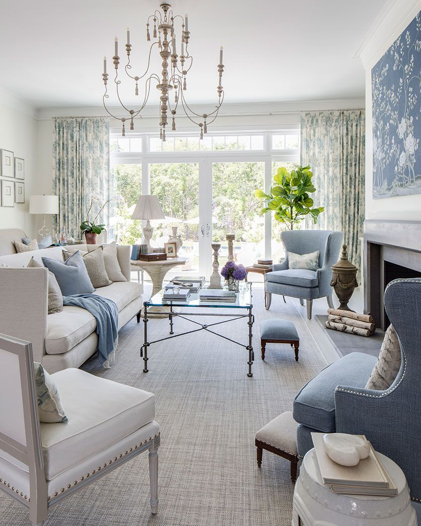Kate Singer's Living Room at the Hamptons Showhouse is part of French Traditional Living Room - We sat down with interior designer Kate Singer to talk about her living room in the Traditional Home Hamptons Showhouse, in a color palette of blue, white, and flax