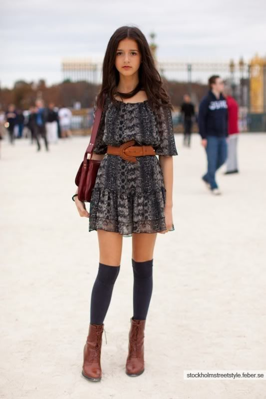 0f06d4495 fall outfits for teen girls with knee high socks | Just a random photo of a  girl wearing knee-high socks & short boots .