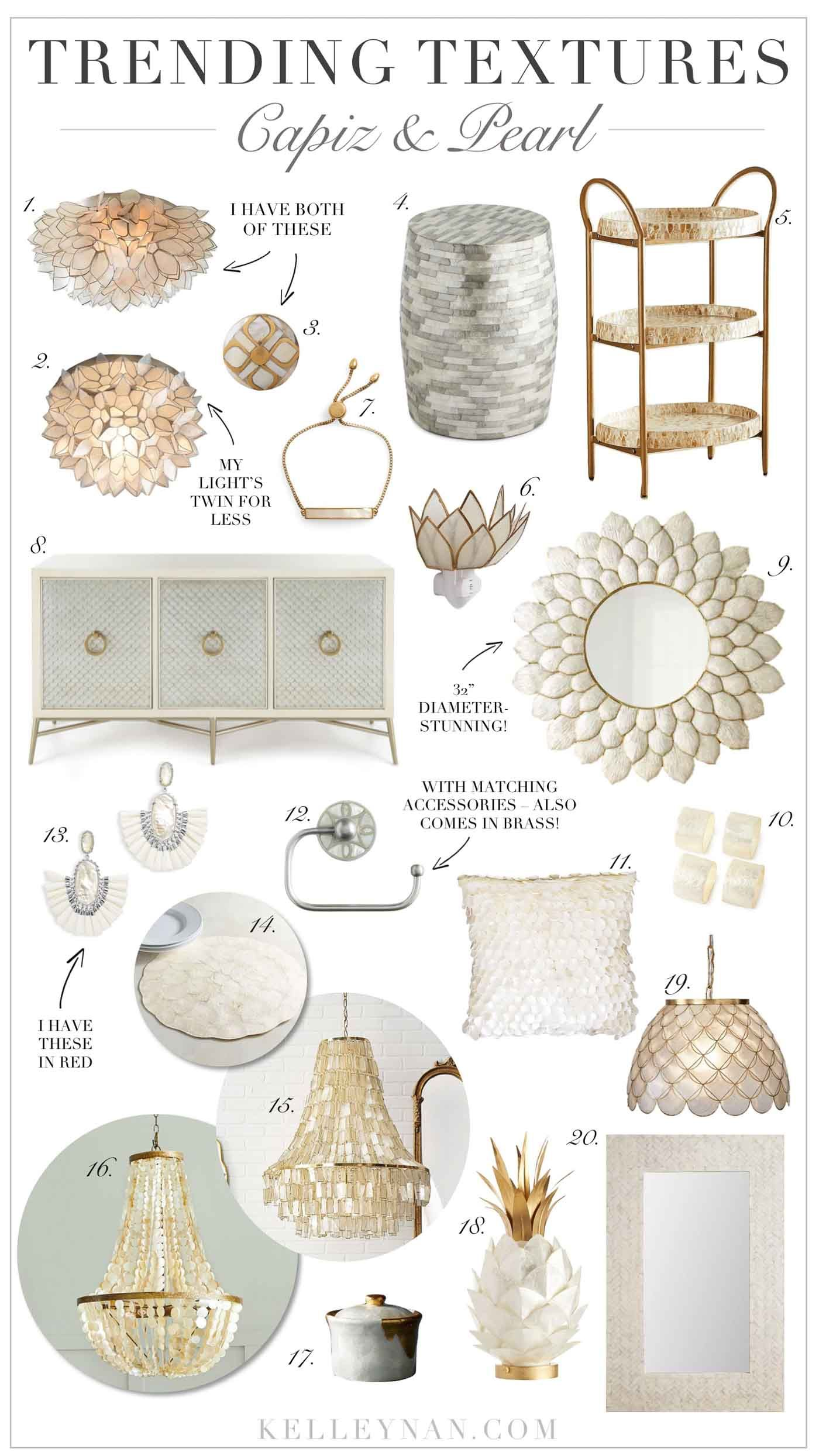 Best Capiz Shell And Pearl Home Decor From Lighting To Furniture Accessories On