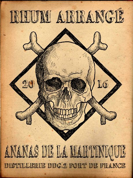 Gut gemocht étiquette rhum arrangé ananas /skull pirate rum | Labels Halloween  KD29