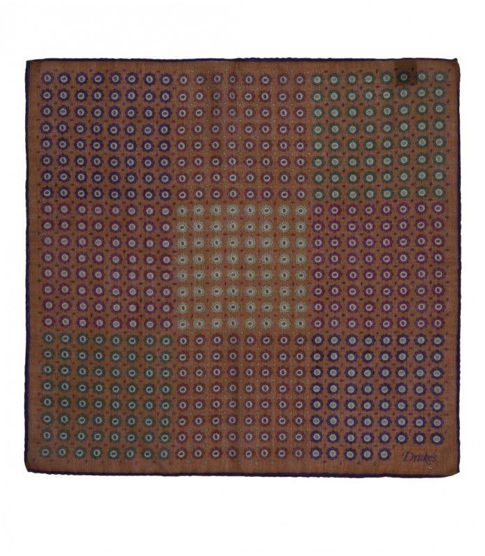 Drakes - Tan Patchwork Print Wool and Silk Pocket Square