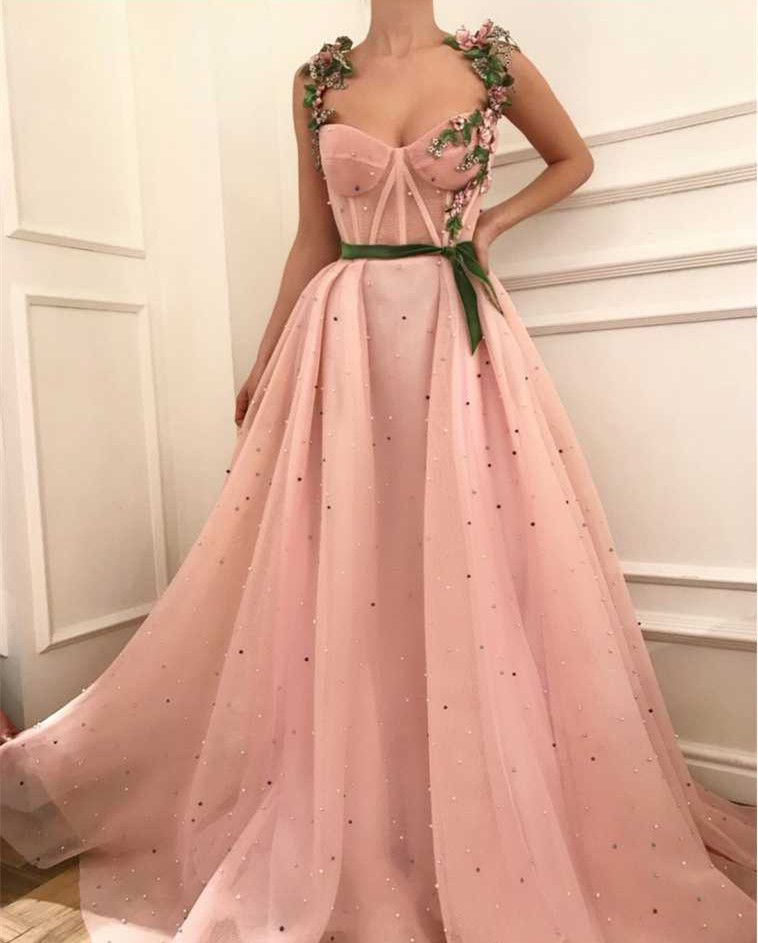 Sexy Tulle Applique with Green Belt,Beading Prom D