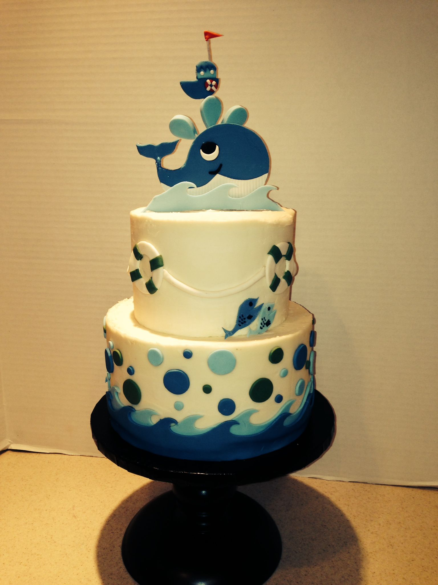 Whale of a good time - Whales and Fish baby shower cake