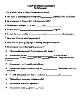Need a handout for the Life of Shakespeare A Biography for your ...