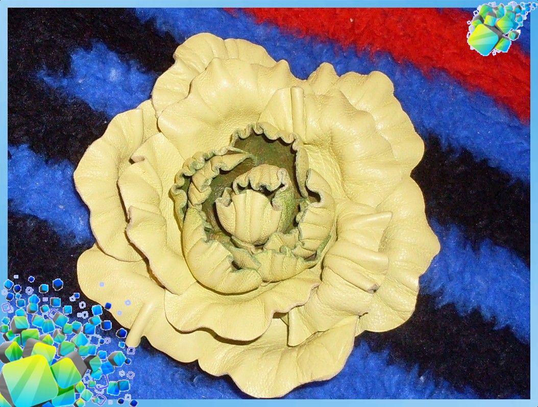 Цветок из кожи цветы из кожи поделки из кожи роза пион