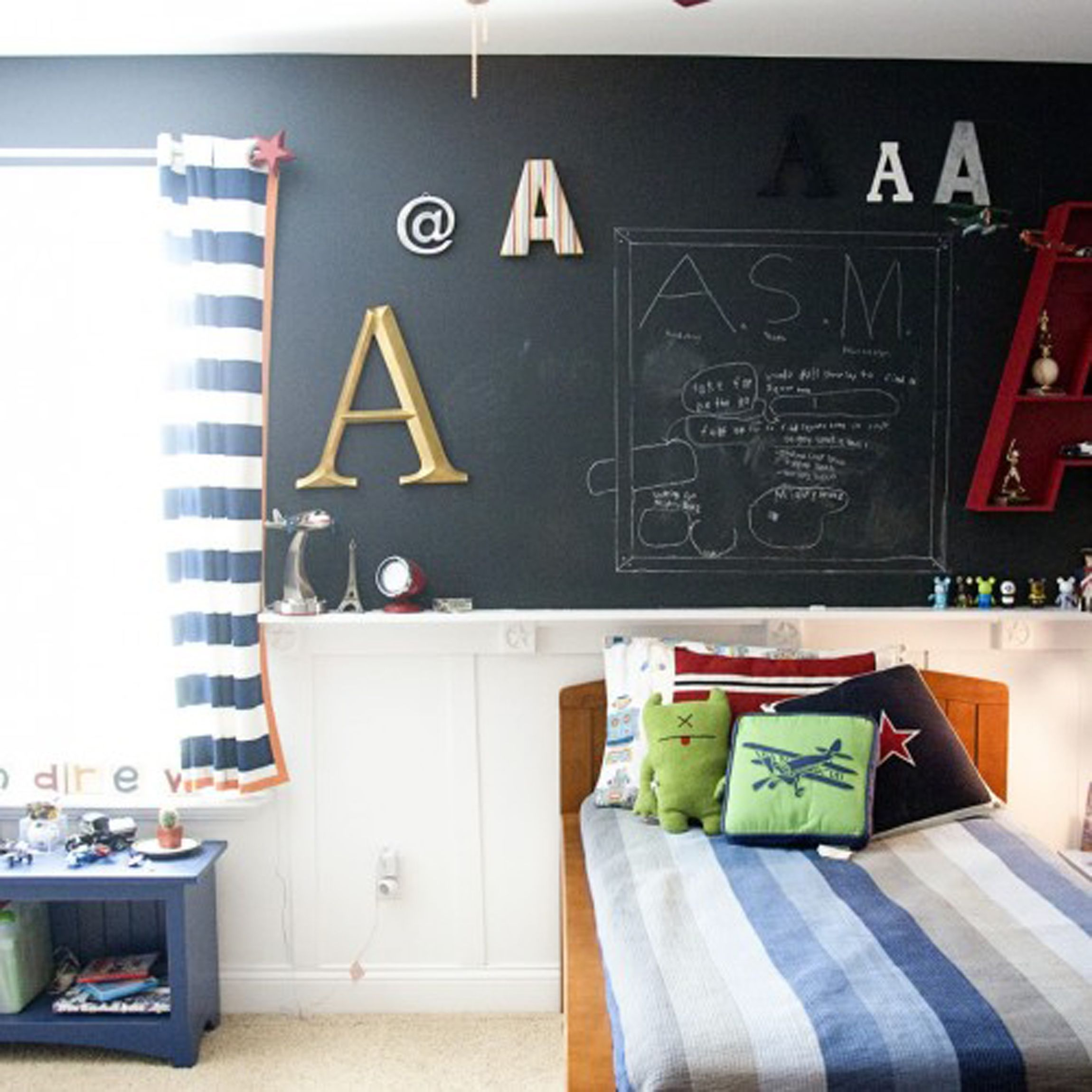 Bedroom Chalkboard Decoration For Kids Room With Nice Wall Alphabet Letter Design Plus Endearing Walnut Bed