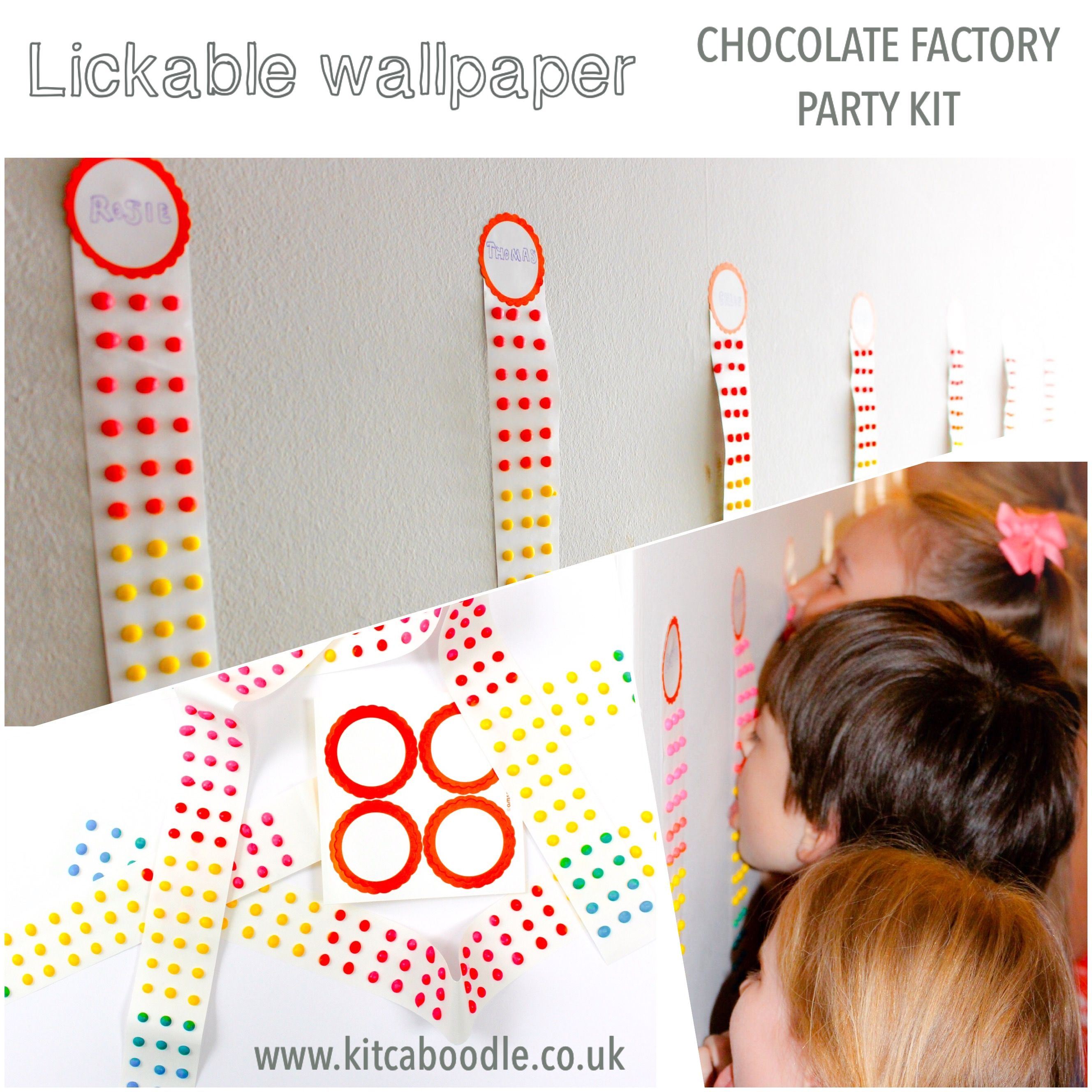Lickable Wallpaper | Chocolate Factory Party Kit | Fun Party Games | Charlie and the Chocolate Factory Party Inspiration | Kit & Caboodle Parties