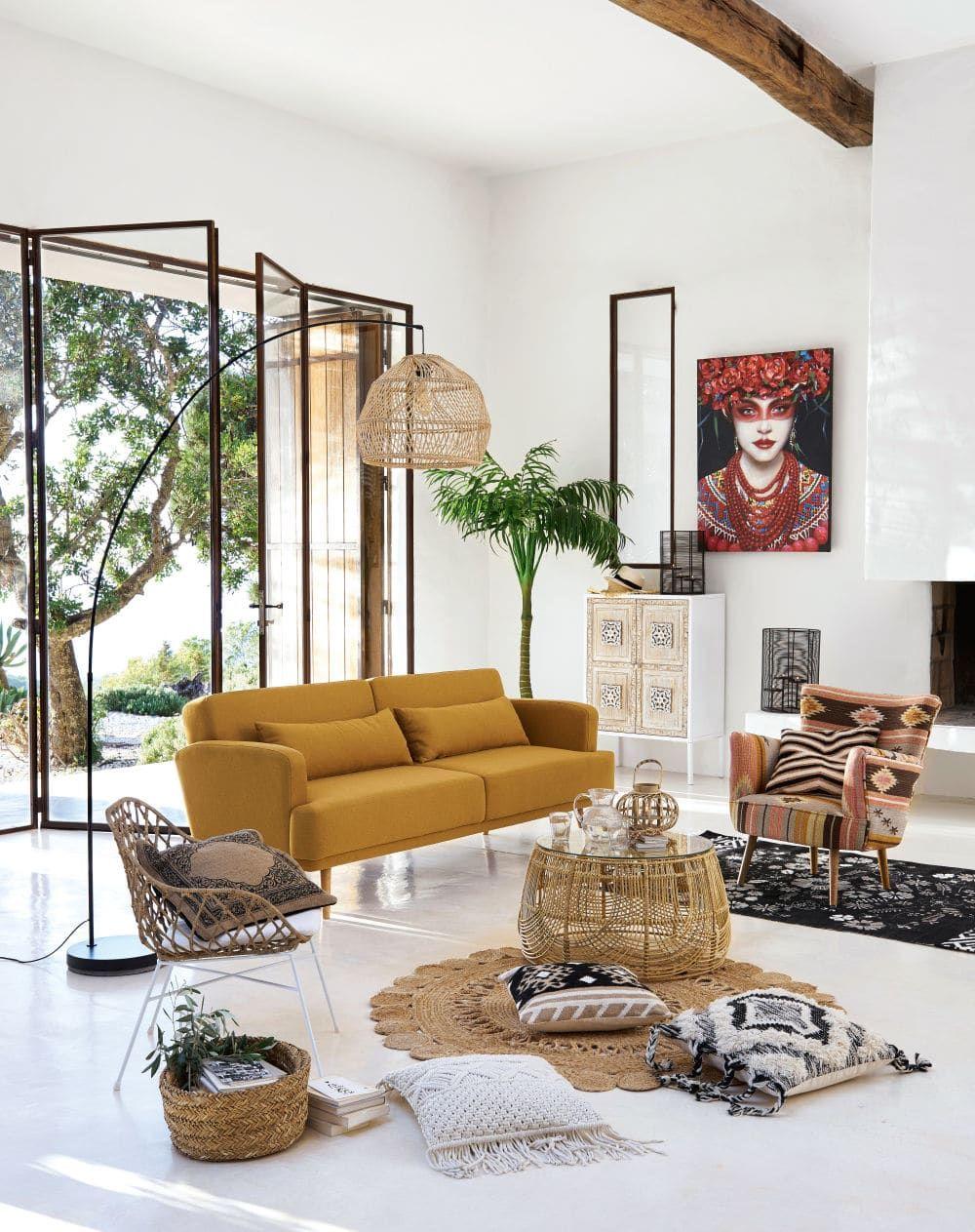 Canape Lit 3 Places Elvis Jaune Moutarde Pas Cher Canape Maisons Du Monde Canape Maison Du Monde Meuble Deco Salon