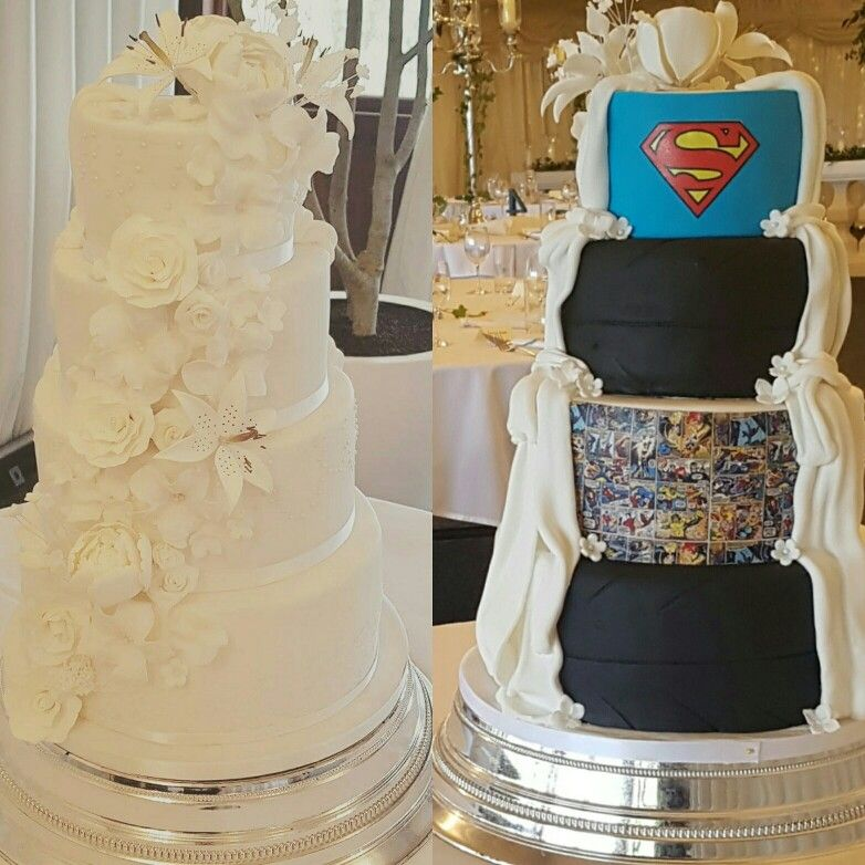 Half And Half Wedding Cake Traditional On One Side Other Comic Book Superhero And Tyres Superhero Wedding Cake Comic Wedding Cake Tire Wedding Cakes