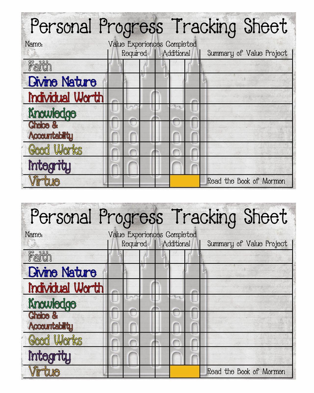 Personal Progress Tracking Sheet Free Printable
