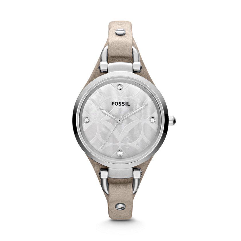 Fossil Georgia Three-Hand Leather Watch - Bone, ES3150  FOSSIL®