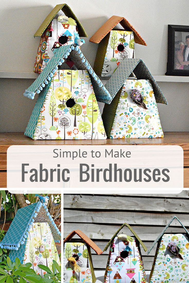 Use fabric scraps and cardboard to make these gorgeous fabric birdhouses for your home.  They also make a lovely gift.