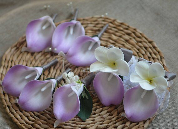 Lilac Wedding Bouquets Real Touch Lilac Calla Lilies Ivory