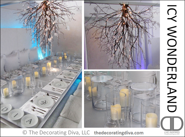 snow themed Decorating After Christmas | Icy Winter Wonderland Table  Decorations - Decorating Diva