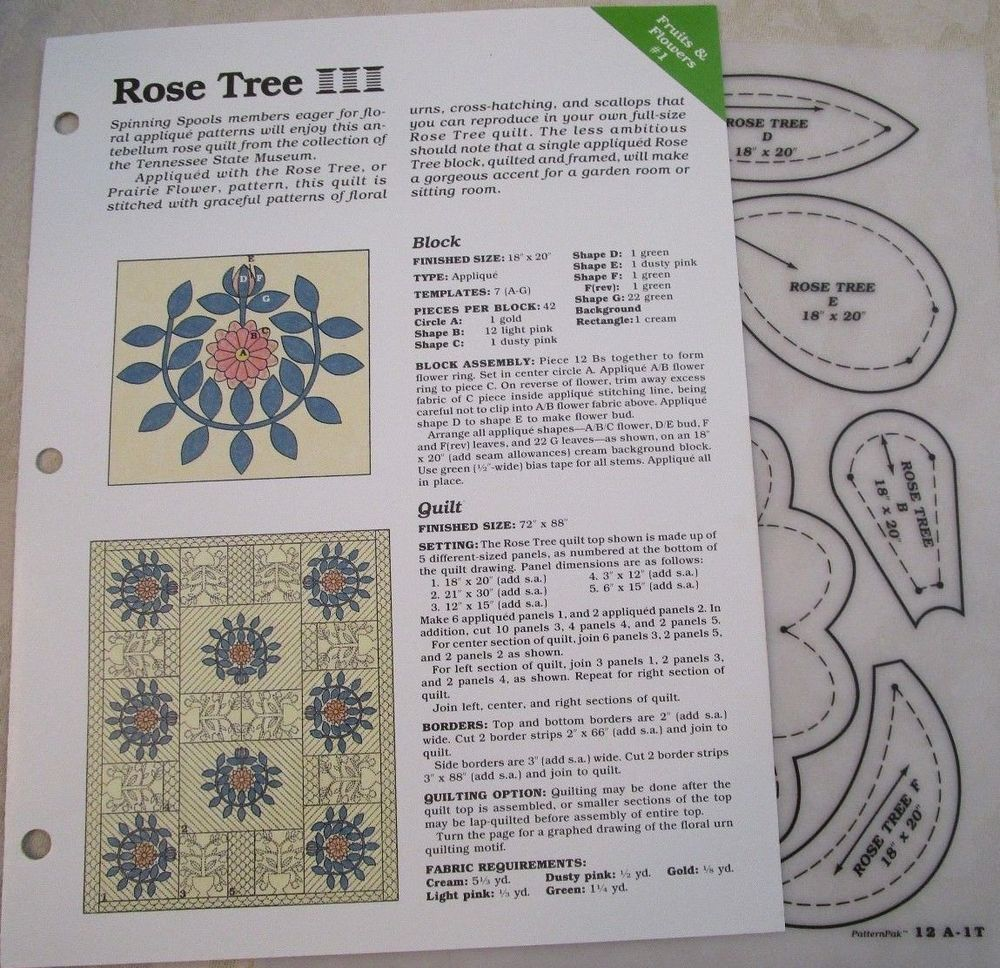 Rose Tree Quilt Block Sewing Pattern & Clear Plastic Template | Rose ...