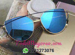 ed92e504e0 Lentes de sol estilo dior mirrored cat eye pop6082 azul moda mayoreo ...