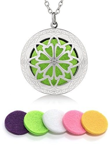 Essential Oil Diffuser Necklace Locket Pendant with 10 Washable Pads (Silver), Size: 26â VINTAGE STYLED CHAIN