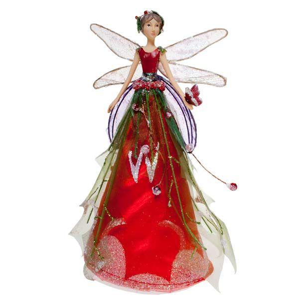GISELA GRAHAM CHRISTMAS CREAM GOLD CHRISTMAS ROSE FAIRY ANGEL TREE TOPPER TOP