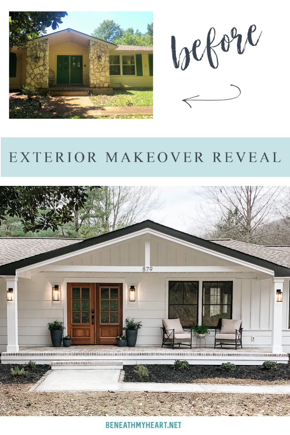Check out the amazing before and after pictures of the 1970's exterior makeover!  @lowes #exteriormakeover #homemakeover #fixerupper #lowespartner #sponsored #frontporch #makeoverreveal #modernfarmhouse
