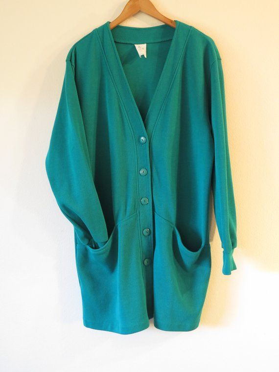 36839c162c7 90s Era Vintage Teal Blue Green Extra Long Cardigan Sweater in Women s  Estimated Size Large with a 4