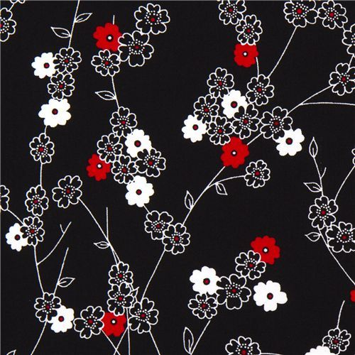 Red And Black Fabric Black Michael Miller Fabric With White And