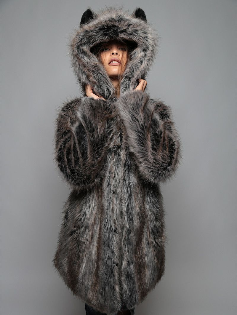b8dcf7fc64 Grey Wolf faux fur animal inspired Jacket (100% Vegan). Available in Small,  Medium & Large (unisex).
