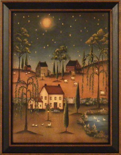 Village Full Moon by Kim Lewis 15x19 Saltbox Houses Willow Trees ...