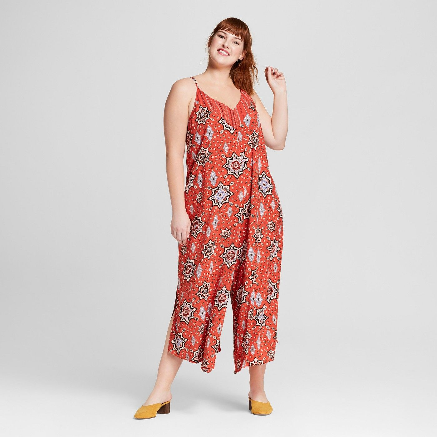 99a7ea120b4b Women s Plus Size Printed Maxi Jumpsuit - Xhilaration™ Red - image 1 of 2