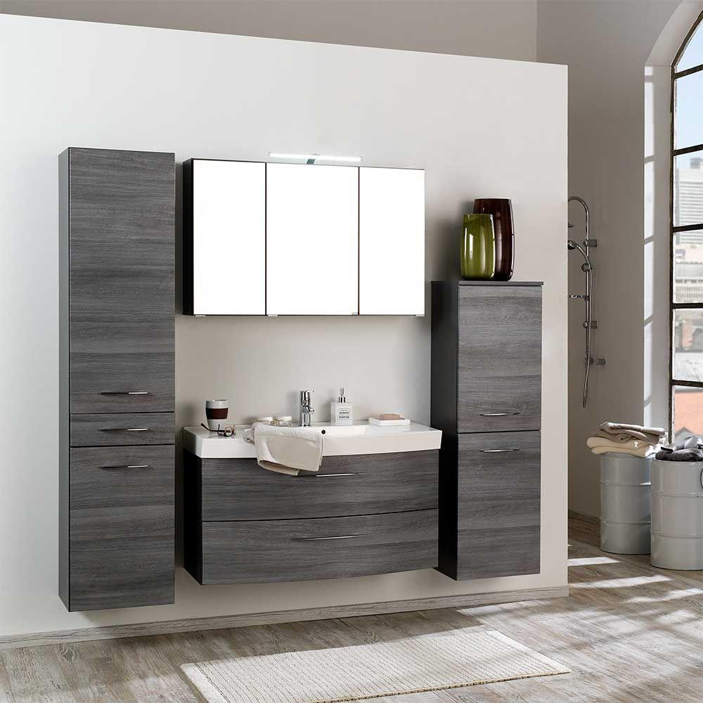 Badezimmermobel Set In Eiche Grau 3d Spiegelschrank 4 Teilig Jetzt