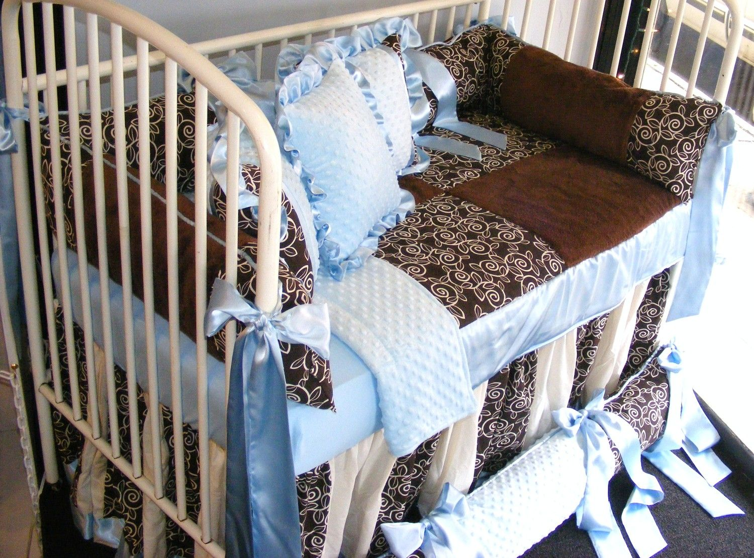 Baby Boy Bedding Light Blue N Chocolate Brown Minky Dot W Primer Fabric Pillow High Quality Quilt Patchwork Beautiful