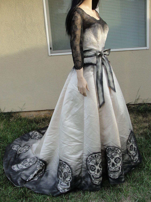 RESERVED Large size 14 hand painted sugar skull skeleton wedding ...