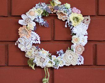 Photo of Door Wreath, Floral Wreath, Wedding Wreath, Nursery Room Wreath, Cotton Wreath, Crochet Wreath, Summer Wreath, Spring Wreath, Easter Wreath